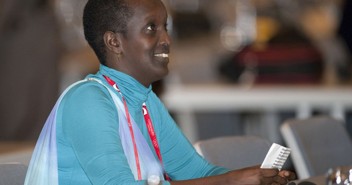 Lydia Nsekera. president of the Burundi Football Federation, reacts October 9, 2009, in Copenhagen after she was elected as a new member of the IOC.</p>
