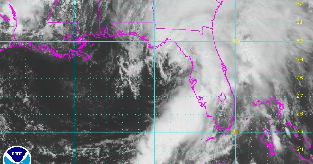 NOAA satellite footage of Tropical Storm Andrea, bearing down on Florida on June 7th.</p>