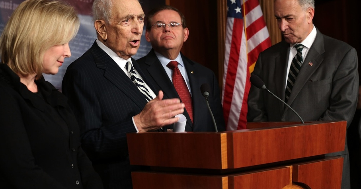 Late U.S. Sen. Frank Lautenberg (D-NJ) (2nd L) spoke during a news conference after a vote on the Superstorm Sandy Relief Bill January 28, 2013 on Capitol Hill in Washington, DC.</p>