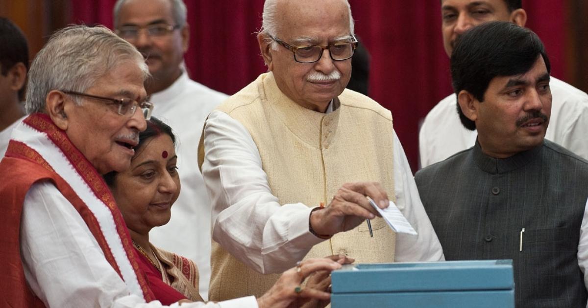 Senior Bhartiya Janata Party (BJP) President L. K. Advani (C) resigned from all posts on June 10, 2013.</p>