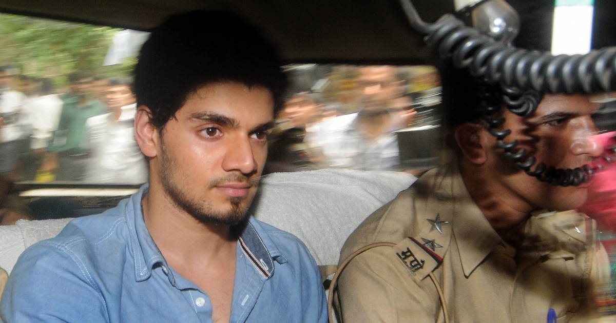 Indian actor Sooraj Pancholi, boyfriend of the late Bollywood film actress Jiah Khan,  on his way to a court in Mumbai on June 11, 2013, on suspicion of abetting her suicide.</p>