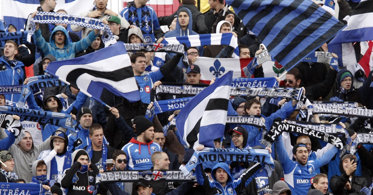 Montreal Impact soccer fans cheer in Toronto on October 20, 2012.</p>