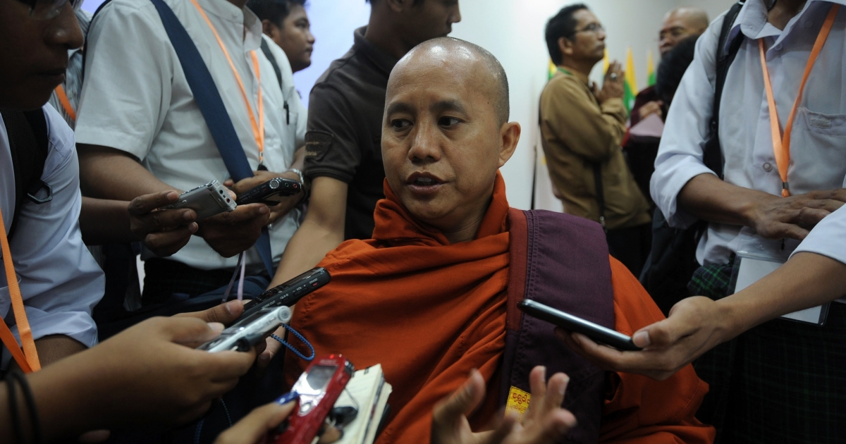 Radical Buddhist monk Wirathu in March 2013. A spokesman for Myanmar's anti-Muslim 969 movement, he has expressed his admiration for the English Defence League.</p>