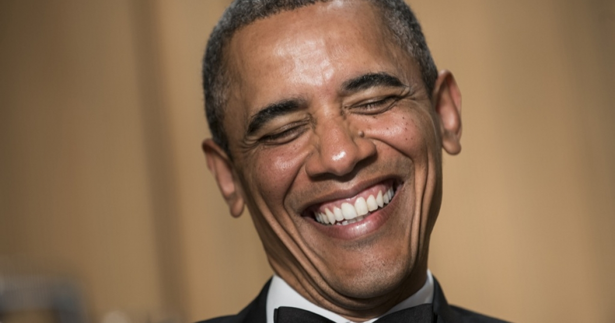US President Barack Obama laughs during the White House Correspondents' Association Dinner April 27, 2013 in Washington, DC. Obama attended the yearly dinner which is attended by journalists, celebrities and politicians.</p>