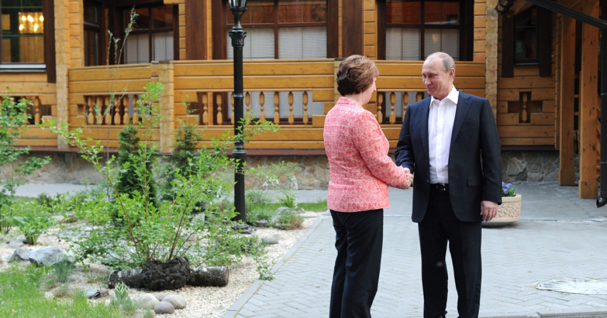 Russia's President Vladimir Putin welcomes EU foreign policy chief Catherine Ashton in the industrial Ural Mountains city of Yekaterinburg on June 3, 2013. The European Union and Russia kicked off a two-day summit.</p>