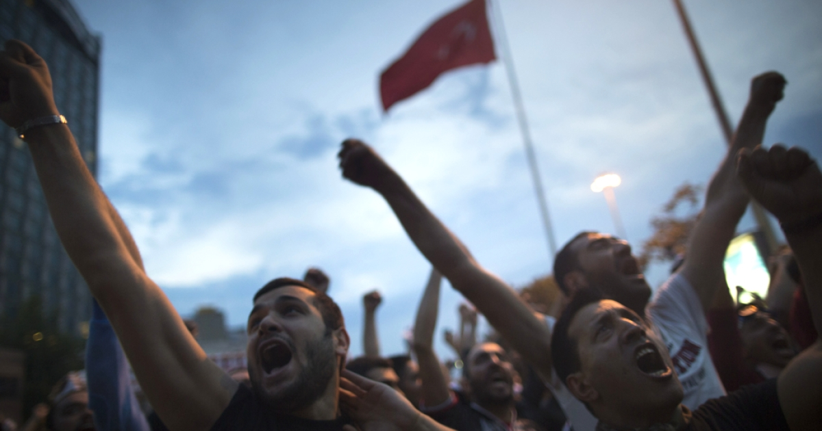 Turkish police used water cannon to disperse thousands who had gathered in Taksim Square in Istanbul, Turkey to protest the destruction of a park. The park project was canceled by a Turkish court in a ruling released July 3, 2013.</p>
