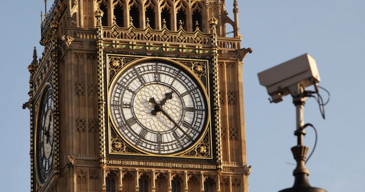 A CCTV camera trained on London's Parliament Square.</p>