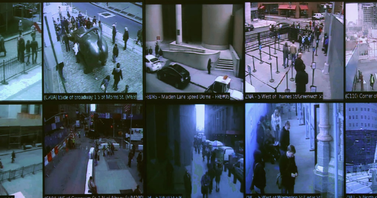 Monitors show imagery from security cameras seen at the Lower Manhattan Security Initiative on April 23, 2013 in New York City.</p>