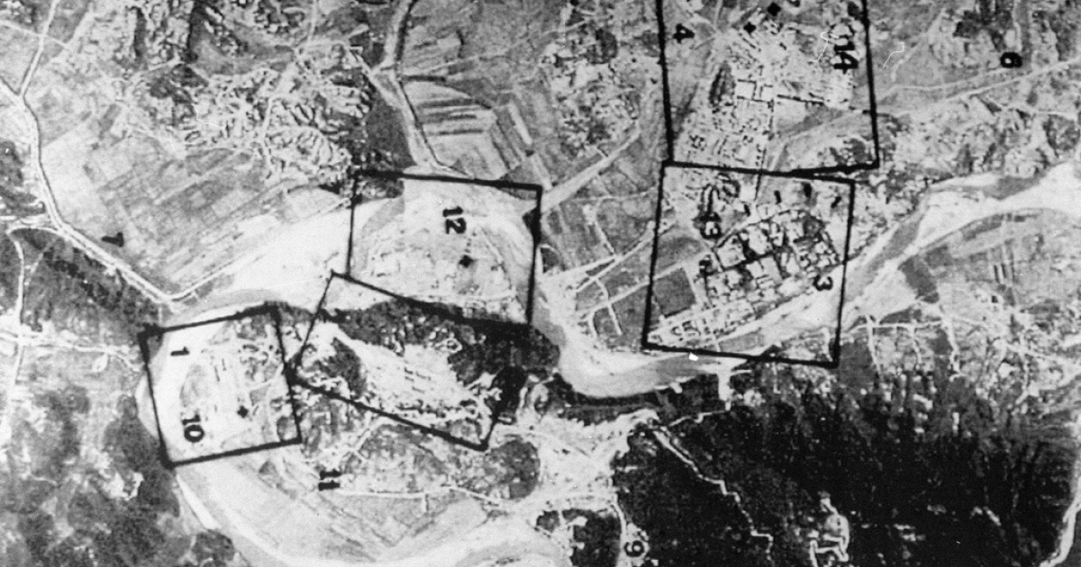 A French satellite image taken in March 1994 showing an aerial view of North Korea's Yongbyon nuclear complex, 95 kilometers (60 miles) north of Pyongyang. The box marked 01-10 is identified as a nuclear fuel reprocessing site. Recent analysis suggests that the site, out of service since 2007, might be close to reactivation.</p>
