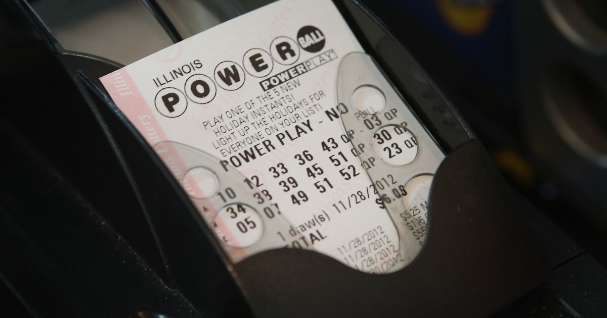 A Powerball lottery ticket is printed for a customer at a 7-Eleven store on November 28, 2012 in Chicago, Illinois.</p>