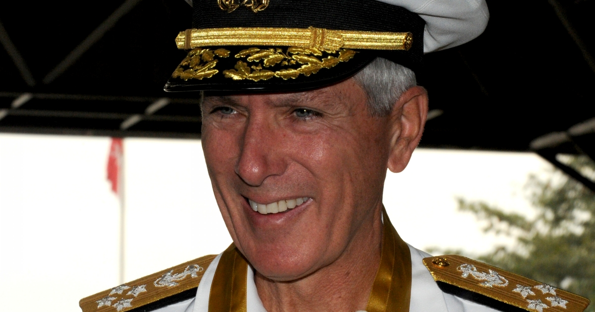 US Pacific Command Commander Admiral Samuel J Locklear III looks on after receiving arrival honours at the Philippine military headquarters where he is attending an annual meeting of the two countries.</p>