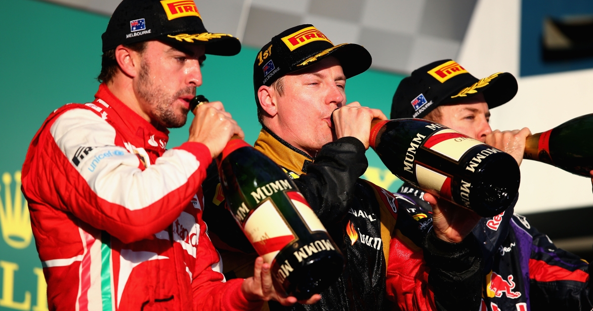 Race winner Kimi Raikkonen (C) of Finland and Lotus celebrates on the podium with second placed Fernando Alonso (L) of Spain and Ferrari and third placed Sebastian Vettel (R) of Germany and Infiniti Red Bull Racing following the Australian Formula One Grand Prix at the Albert Park Circuit on March 17, 2013 in Melbourne, Australia.</p>