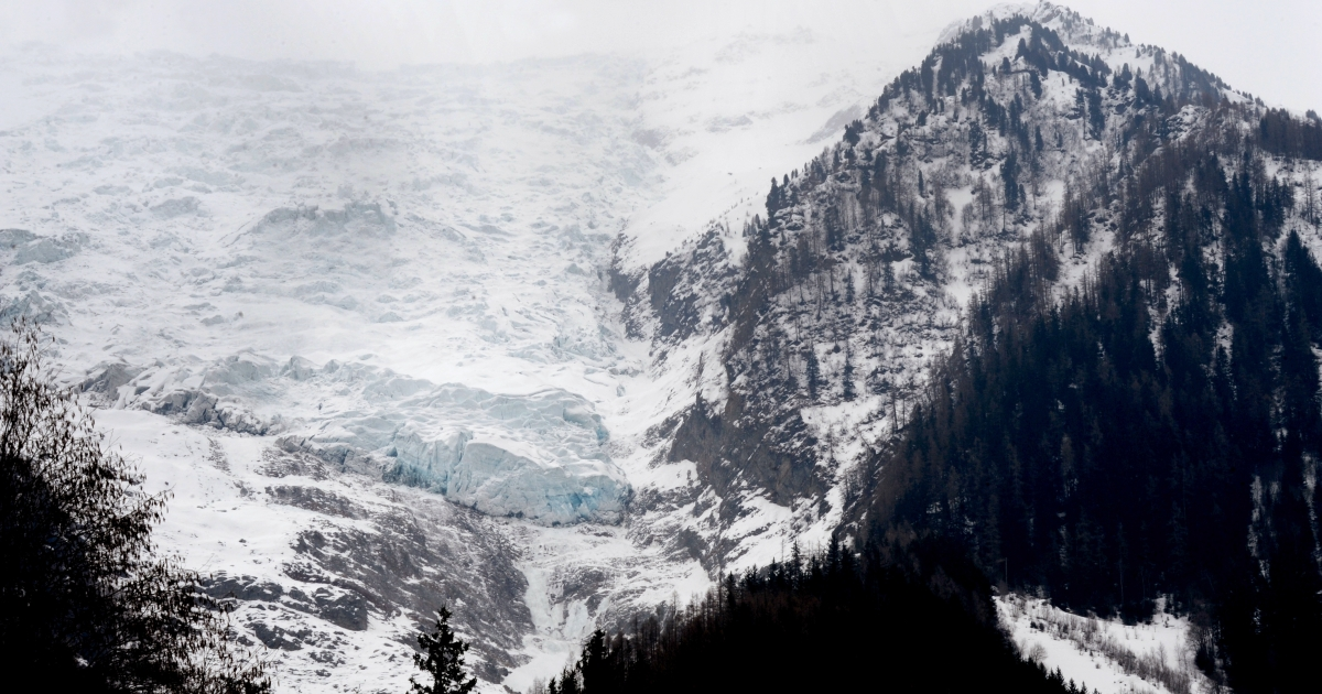 Photo taken on March 17, 2013 at Chamonix-Mont-Blanc shows the Bossons glacier where a 48 year-old Briton and his 12 year-old son set off for a walk the previous day . Their bodies were found by rescuers today in the Bossons area.</p>