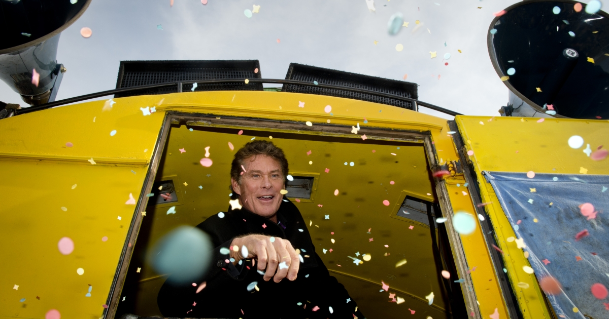 US actor and singer David Hasselhoff is showered with confetti as he is addressing fans and campaigners at the East Side Gallery on March 17, 2013 in Berlin, Germany, to protest against the planned demolition of a part of these remains of the former Berlin Wall.</p>