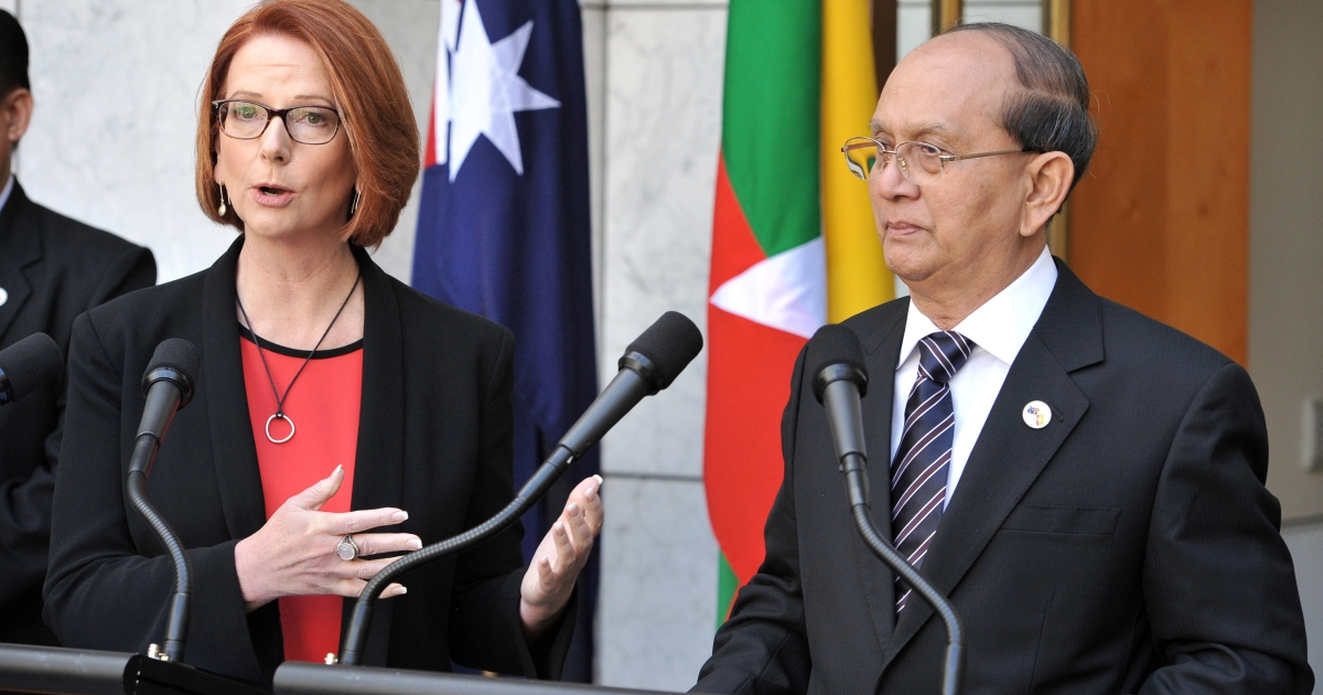 Prime Minister Julia Gillard (L) and the President of Myanmar Thein Sein speak to the press at Parliament House in Canberra March 18, 2013.</p>
