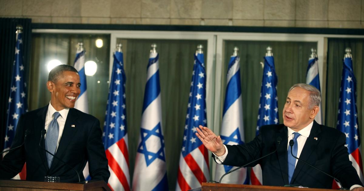 President Barack Obama (L) listens during a press conference with Israeli Prime Minister Benjamin Netanyahu on March 20, 2013 in Jerusalem, Israel.</p>