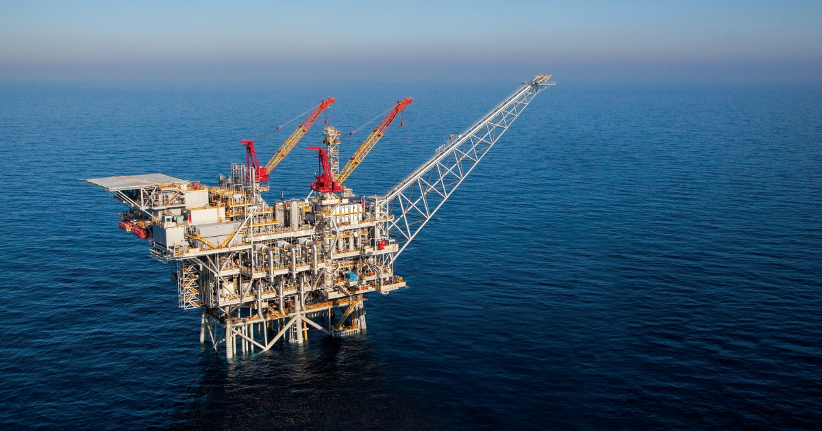 The Tamar drilling natural gas production platform is seen some 25 kilometers West of the Ashkelon shore on March 28, 2013 in Israel.</p>