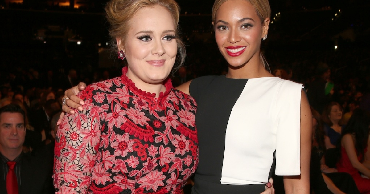 Singers Adele and Beyonce attends the 55th Annual Grammy Awards at the Staples Center on February 10, 2013 in Los Angeles, California.</p>