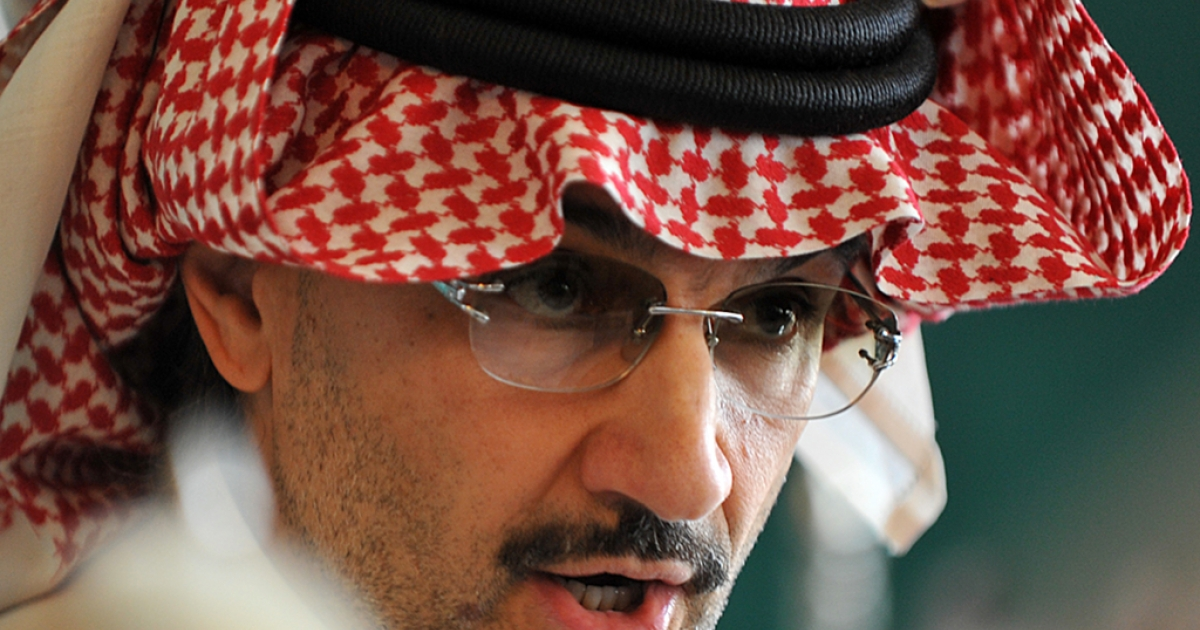 Saudi billionaire owner of Kingdom Holding Company Prince Alwaleed bin Talal speaks during a press conference on Sep. 13, 2011, in Riyadh.</p>