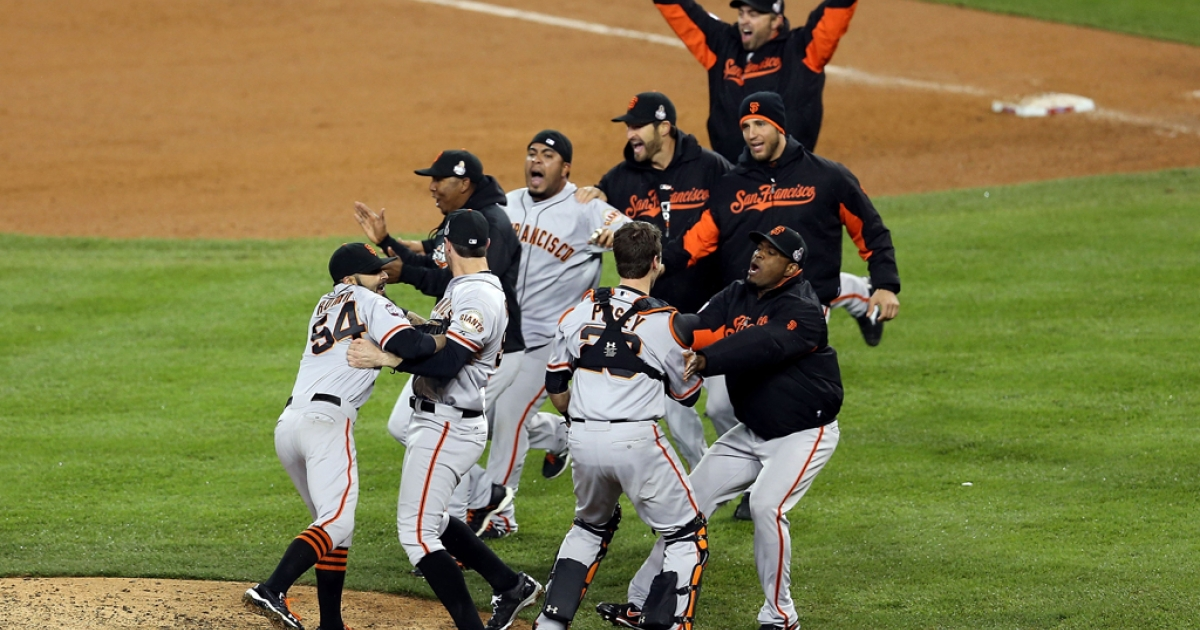 Sergio Romo #54 of the San Francisco Giants celebrates with his teammates after striking out Miguel Cabrera #24 of the Detroit Tigers in the tenth inning to win Game Four of the Major League Baseball World Series at Comerica Park on Oct. 28, 2012, in Detroit, Mich. The San Francisco Giants defeated the Detroit Tigers 4-3 in the tenth inning to win the World Series in four straight games.</p>