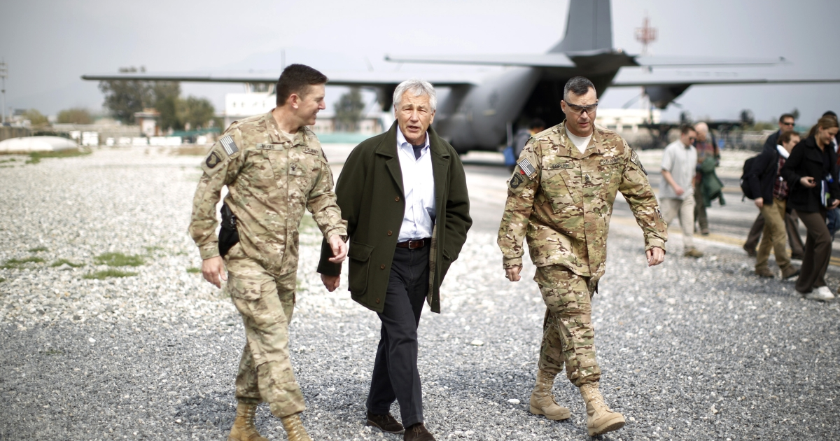 JALALABAD, AFGHANISTAN - MARCH 9:  US Defense Secretary Chuck Hagel (C) arrives to speak to members of the 101st Airborne Airborne Division at Jalalabad Airfield on March 9, 2013 near the southeast of Jalalabad city, Afghanistan. Hagel is on his first official trip since being sworn in as US President Obama's Defense Secretary.</p>