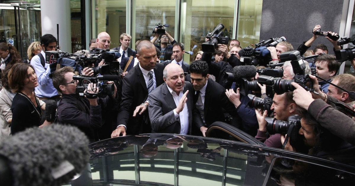 Boris Berezovsky addresses the media outside the Royal Courts of Justice after losing his lawsuit against Chelsea FC owner Roman Abramovich on Aug. 31, 2012 in London, England.</p>