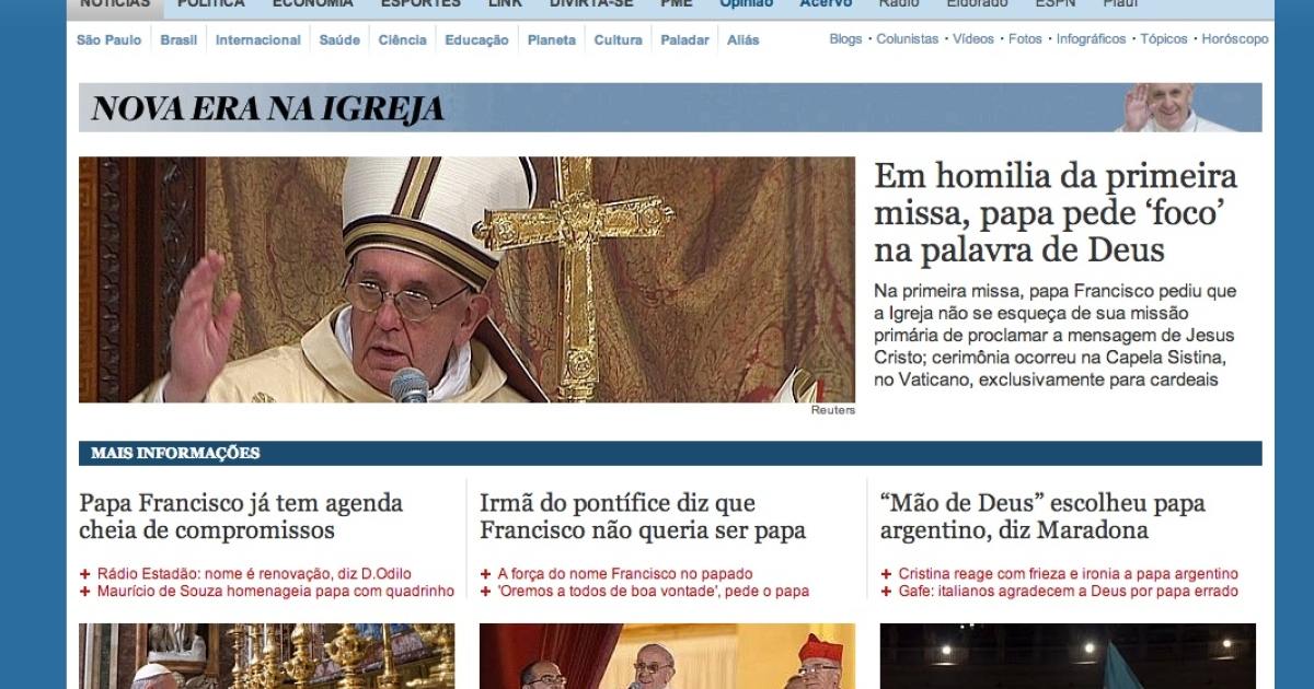 Brazil's Estadão.com.br's coverage of the election of Pope Francis on March 14, 2013.</p>