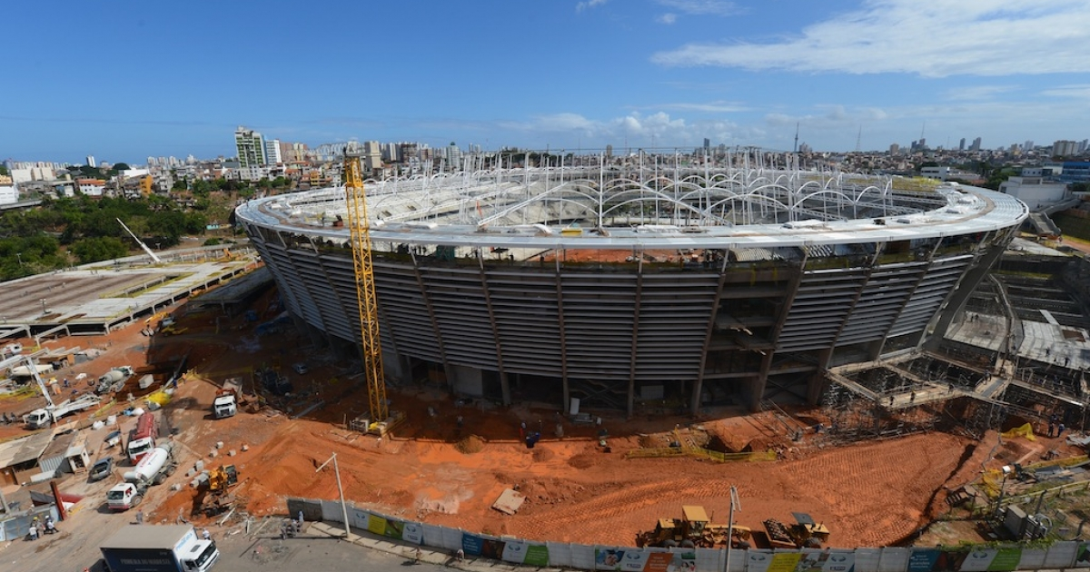 Construction takes place at the Arena Fonte Nova Salvador (Estadio Octavio Mangabeira), venue for the FIFA Confederations Cup Brazil 2013 and the FIFA 2014 World Cup on December 6, 2012 in Salvador, Bahia.</p>