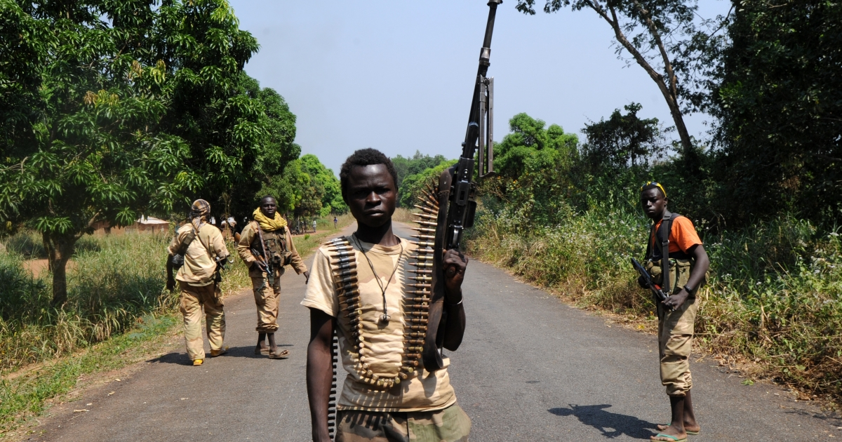 Seleka rebel alliance members take up positions the Central African Republic.</p>