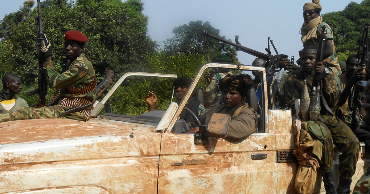 Seleka rebels patrol the roads near the Central African Republic city of Damara on January 8, 2013.</p>