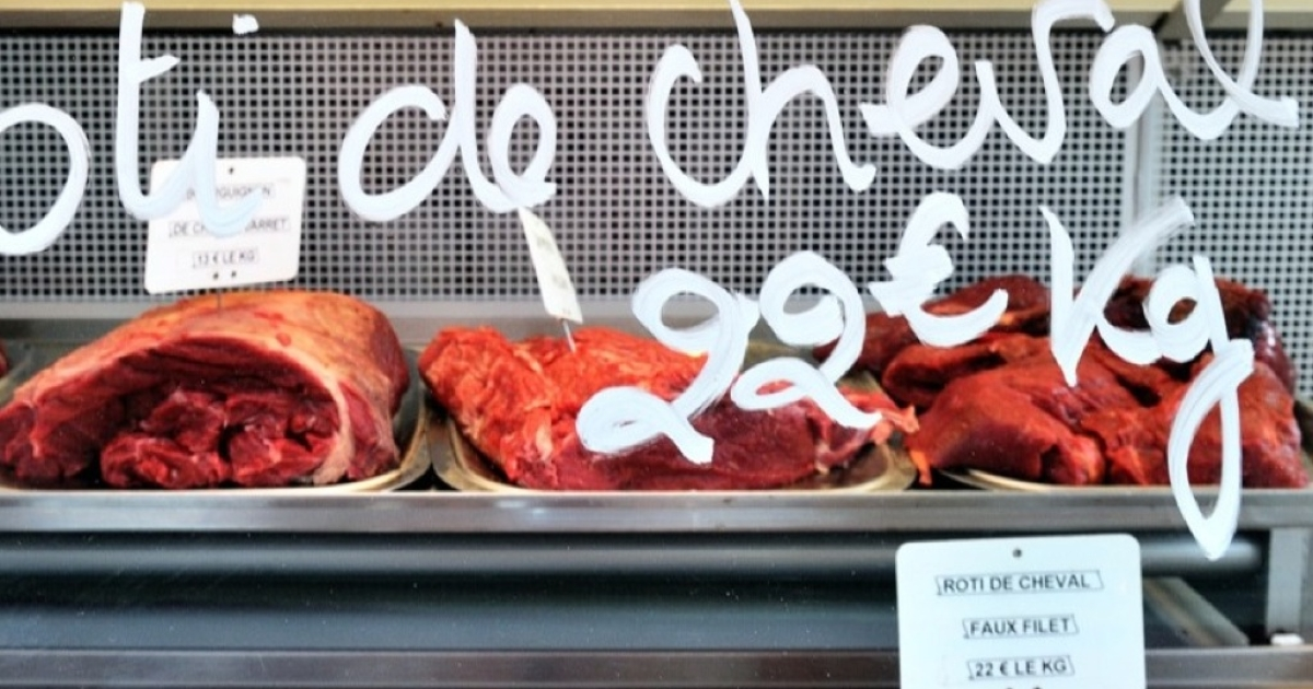 Horse meat pieces are displayed at a horse butchery in Anzin, France, on Feb. 22, 2013.</p>