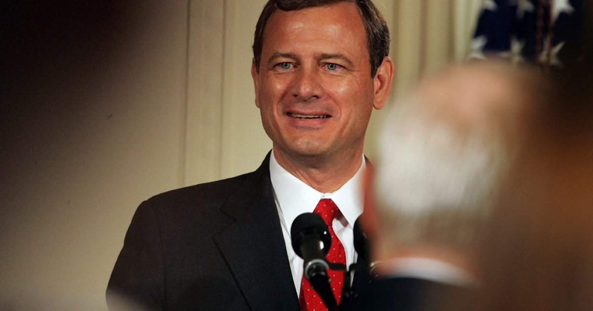 John Roberts speaks after becoming the new chief justice of the US Supreme Court during a swearing-in ceremony in the East Room of the White House on Sept. 29, 2005 in Washington, DC.</p>