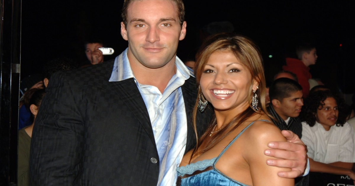 Chris Masters and a guest during the 'See No Evil' premiere in Los Angeles.</p>