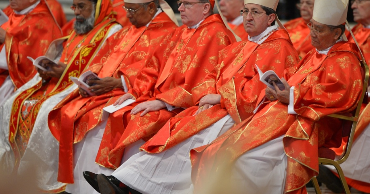 Cardinals attend a mass at St. Peter's Basilica before the conclave on March 12, 2013 at the Vatican.</p>