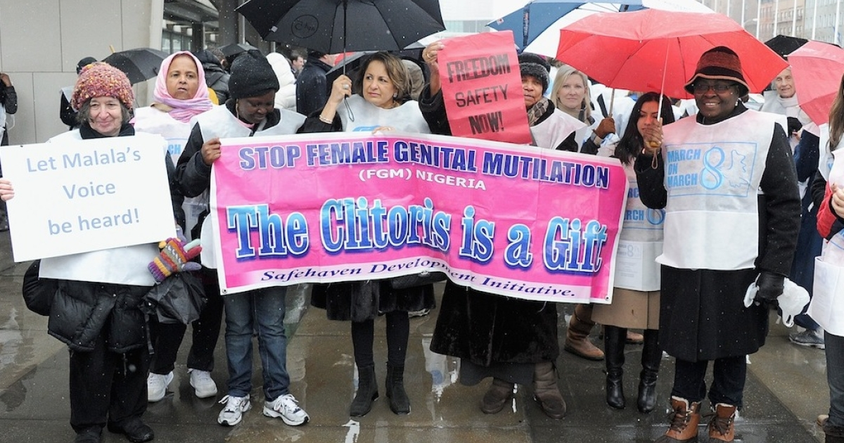 Protesters march against female genital mutilation outside the United Nations in New York City during the 57th annual Commission on the Status of Women. Observers fear an international agreement to end violence against women and girls could be held up by more conservative countries with bad records on women's rights.</p>