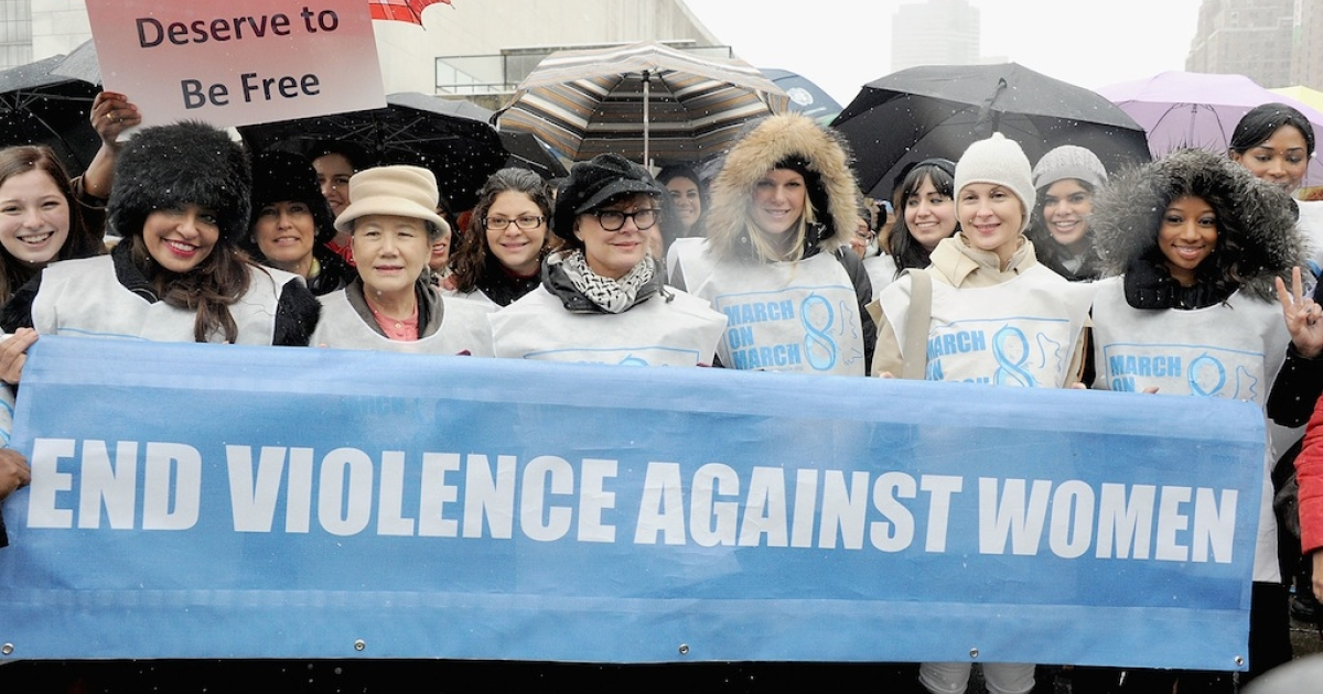 (L-R)Lakshmi Puri, Deputy Ex. Director, UN Women,Ban Soon-Taek,Susan Sarandon, Alexandra Richards, Kelly Rutherford and Monique Coleman attend the March On March 8 at United Nations on March 8, 2013 in New York City, part of the Commission on the Status of Women to end violence against women and girls.</p>