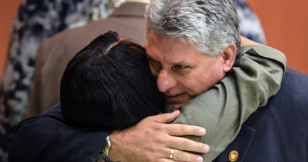 Cuban First Vice President Miguel Diaz-Canel is greeted at the end of the meeting of the new National Assembly to choose a Council of State, on Feb. 24.</p>