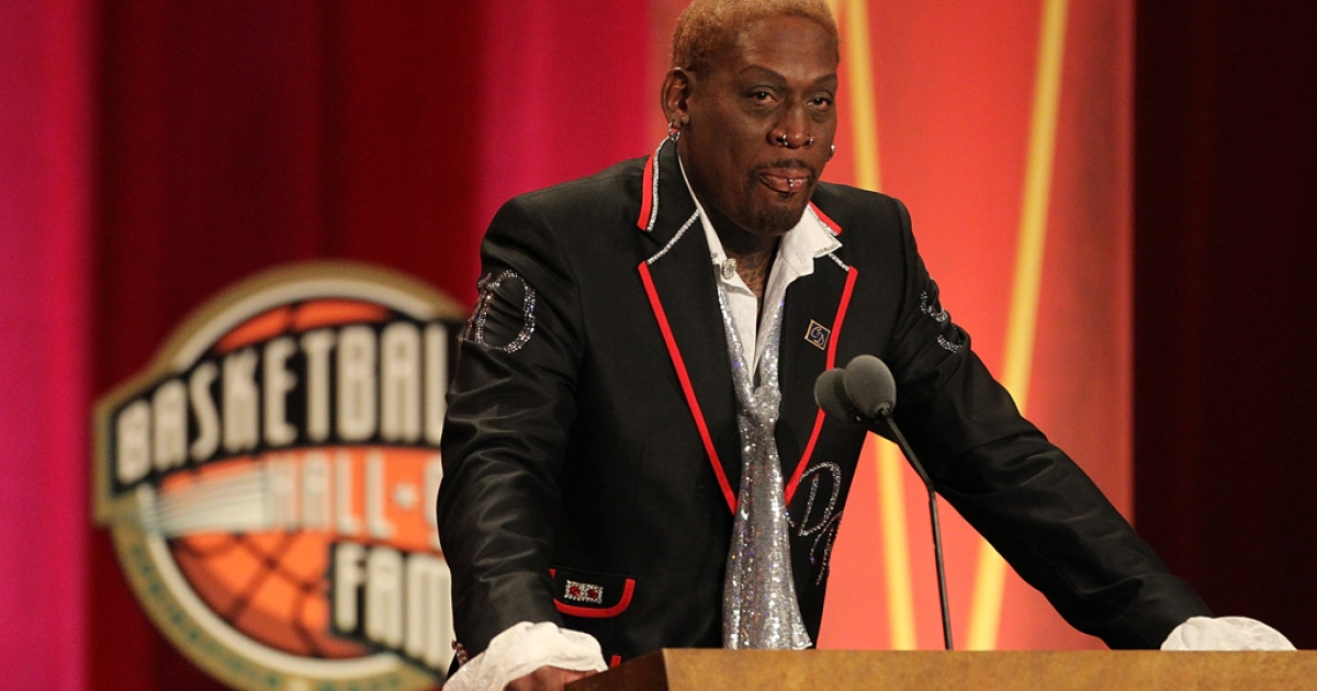 Dennis Rodman speaks during the Basketball Hall of Fame Enshrinement Ceremony at Symphony Hall on Aug. 12, 2011, in Springfield, Mass. Rodman's recent trip to North Korea makes him the latest in a long line of musicians, artists and athletes who have helped open Asian dictatorships to the world.</p>
