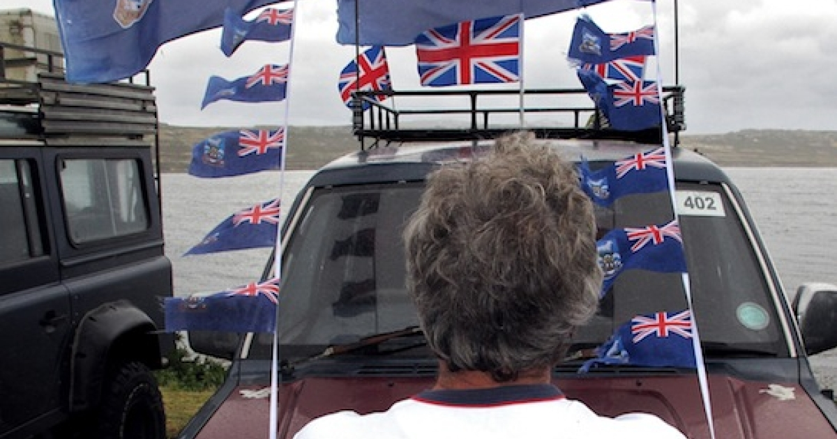 Falkland Islands flags fly during the referendum.</p>