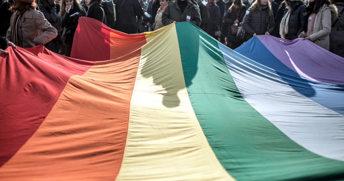 People hold a giant rainbow flag during a demonstration to support gay marriage and adoption in Lyon, France.</p>