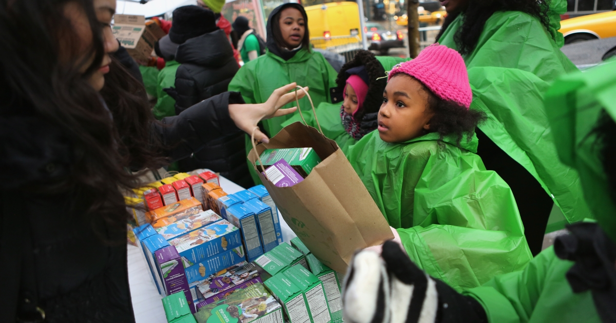 Girl scouts sell cookies in New York City on February 8, 2013.</p>