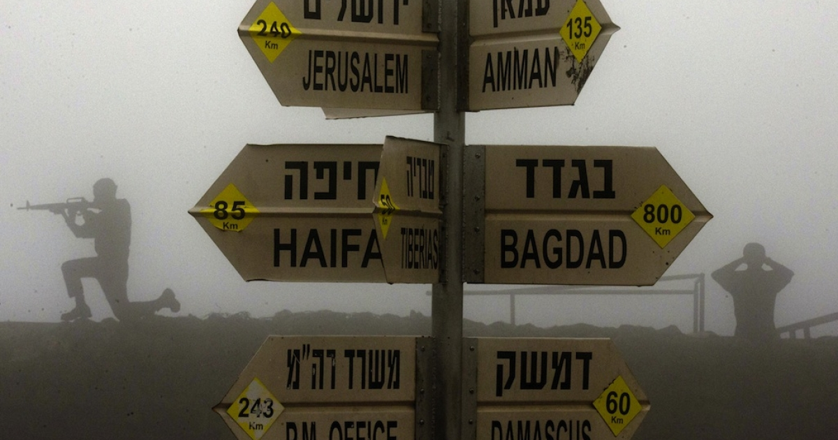 A sign showing the different distances to Jerusalem, Baghdad, Damascus and other locations is seen at an army post in Mount Bental in the Golan Heights.</p>