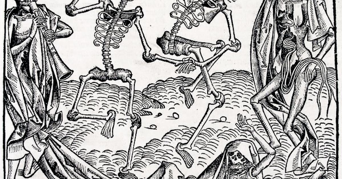 This image is the Dance of Death in the German printed edition, folio CCLXI recto from Hartman Schedel's Chronicle of the World (Nuremberg, 1493) thought to be created by Michael Wolgemut (b. 1434, Nürnberg, d. 1519, Nürnberg). There was also a Latin printed edition of the same year. It seems not to be by Hans Holbein the Younger, as often stated. He was not alive at the time of its publication in 1493.</p>