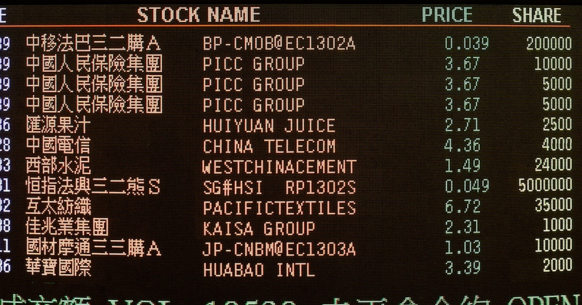 An electronic board of the Hong Kong Stock Exchange displays trading values in Hong Kong on Dec. 7, 2012.</p>