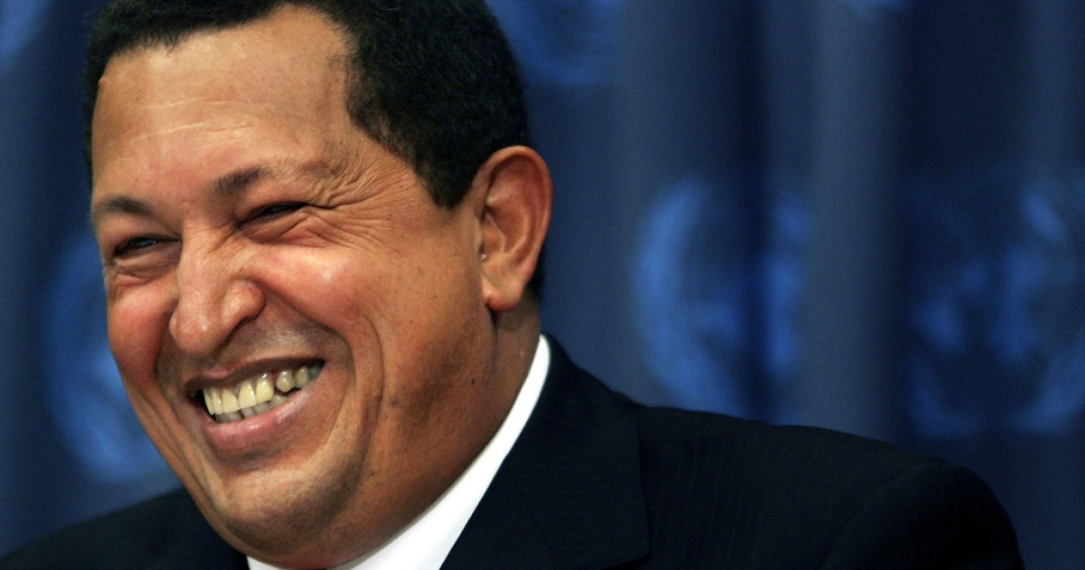 Late Venezuelan President Hugo Chavez laughs during a news conference while attending the United Nations General Assembly, Sept. 20, 2006.</p>