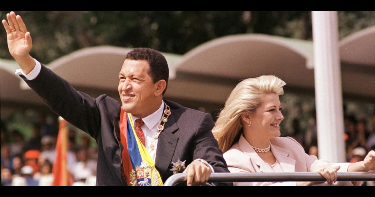Hugo Chavez with his wife Marisabel Rodriguez de Chavez.</p>