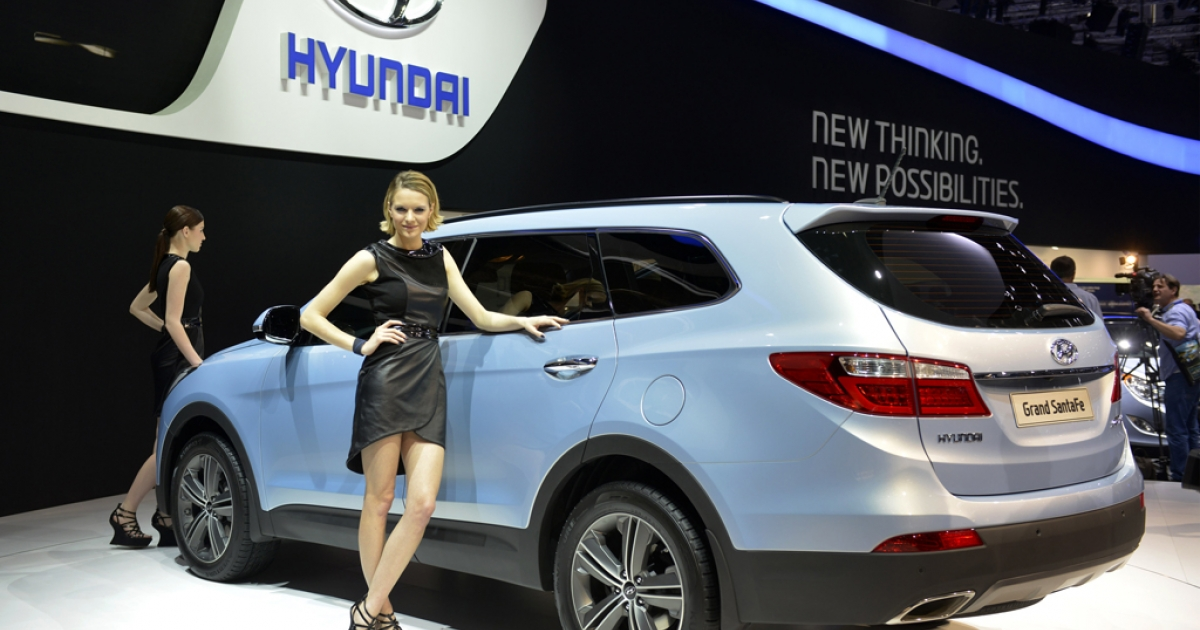 The new Hyundai Gran Santa Fe is displayed in a world premiere at the Korean automaker's booth on March 5, 2013, at the Geneva Motor Show in Geneva, Switzerland. TrueCar Inc., an 8-year-old company based in Santa Monica, Calif., publishes data on actual auto sales allowing shoppers to lock in good prices while preserving dealer profits.</p>