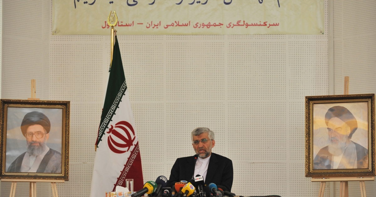 The Secretary of Iran's Supreme National Security Council, Saeed Jalili, speaks during a press conference at the consulate of Iran in Istanbul, Turkey, on Sept. 19, 2012. The P5+1 group made up of China, France, Russia, the United Kingdom, the United States and Germany joined diplomatic efforts to curb Iran's nuclear program in 2006, but efforts to broker a treaty have proven fruitless to date.</p>