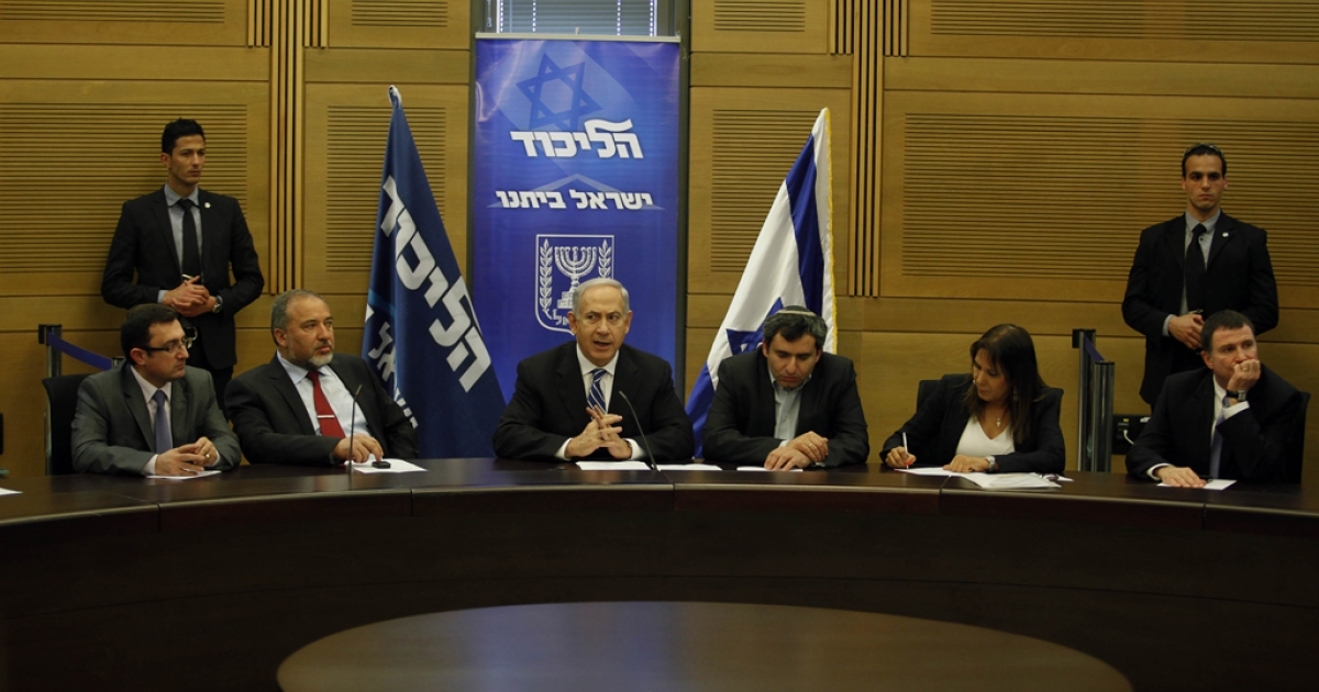 Israeli Prime Minister Benjamin Netanyahu chairs the Likud-Beiteinu faction meeting at the Knesset (Israel's parliament) on Mar. 14, 2013, in Jerusalem.</p>