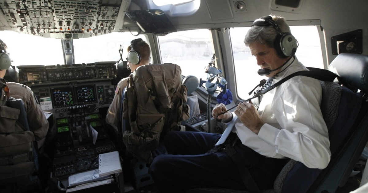 US Secretary of State John Kerry flies out of Iraq on March 24, 2013. Kerry arrived in Afghanistan the following day for talks with President Hamid Karzai.</p>